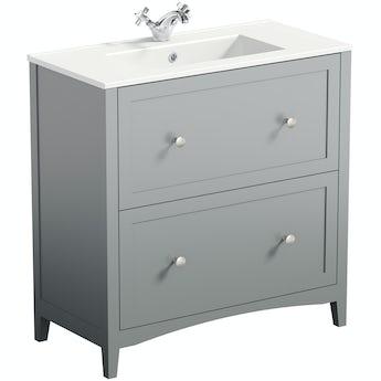The Bath Co. Camberley satin grey floorstanding vanity unit and ceramic basin 800mm