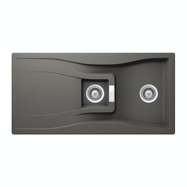 Rangemaster Schock Waterfall 1.5 bowl granite reversible kitchen sink