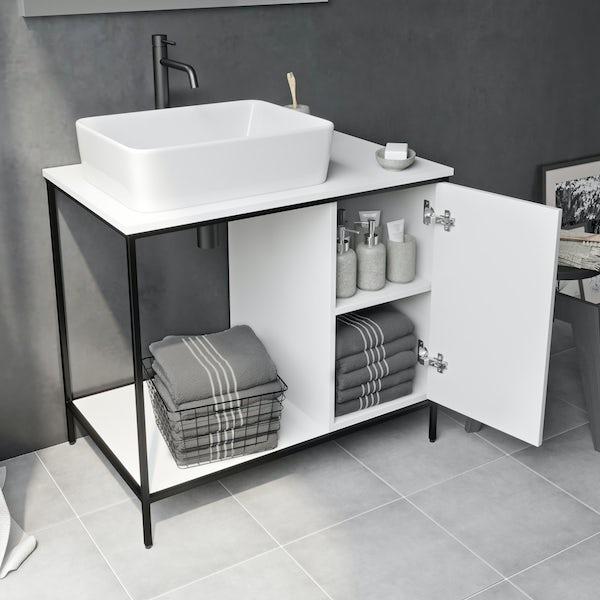 Mode Bergne white washstand and black steel frame 812mm