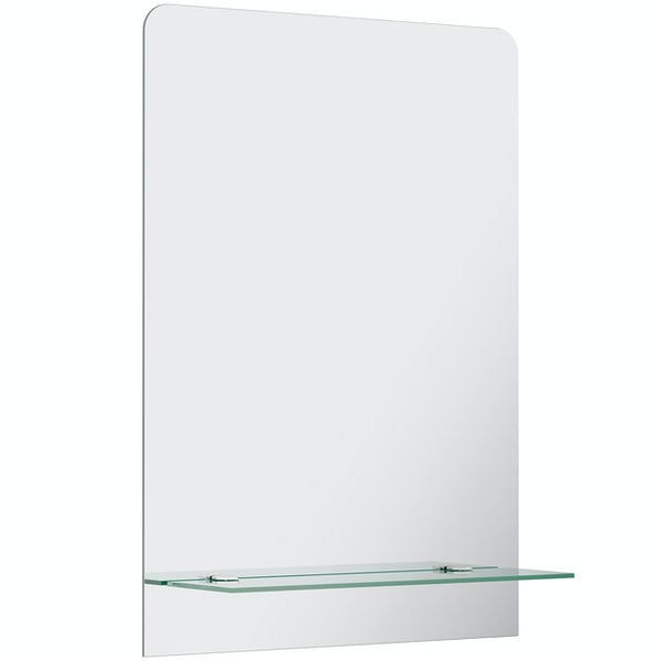 Accents bevelled edge rectangular mirror with vanity shelf 70 x 50cm