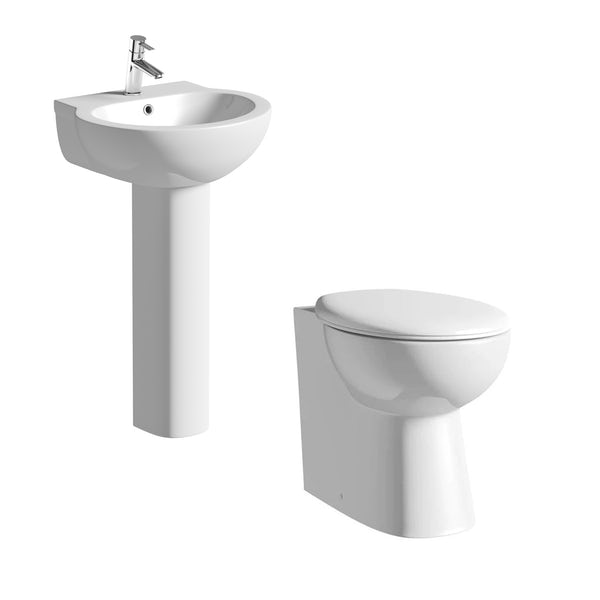 Clarity cloakroom suite with round full pedestal basin 540mm