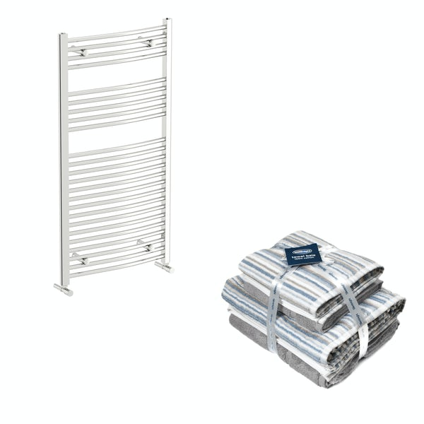 Orchard Elsdon chrome heated towel rail 1150x600 with Silentnight Zero twist grey 4 piece towel bale