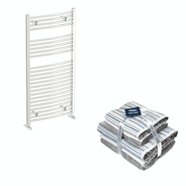 Orchard Elsdon chrome heated towel rail 1150x600 with Silentnight Zero twist grey 4 piece towel bale