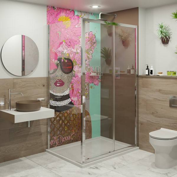 Louise Dear Kiss Kiss Bam Bam Brown acrylic shower wall panel pack with rectangular enclosure