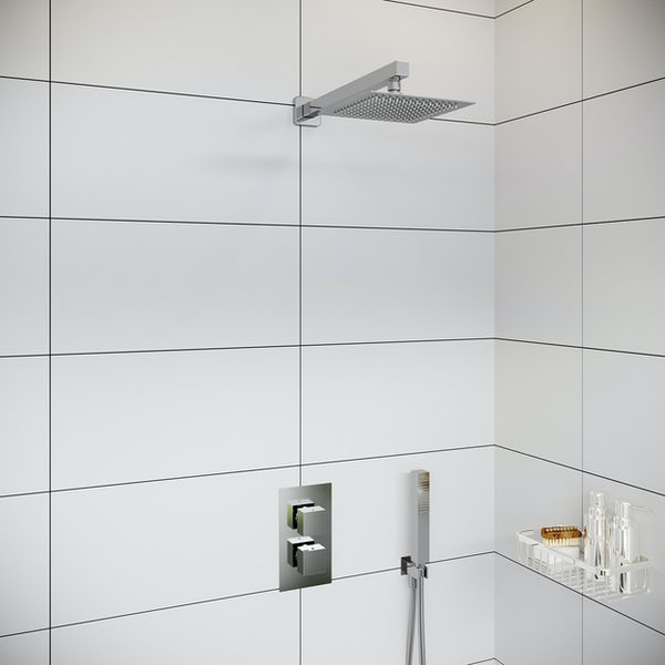 Orchard Derwent thermostatic twin square shower valve set with handset