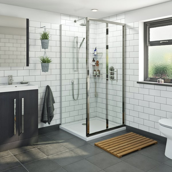 Orchard 6mm bifold rectangular shower enclosure offer pack