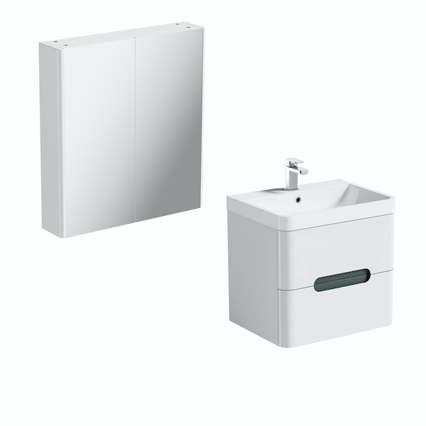 Mode Ellis slate wall hung vanity unit 600mm and mirror cabinet offer