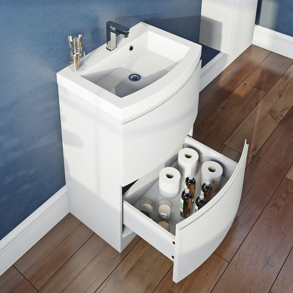 Mode Harrison white floorstanding vanity drawer unit and basin 600mm with mirror