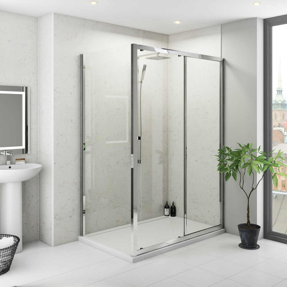 Multipanel Classic Marble unlipped shower wall panel 1200