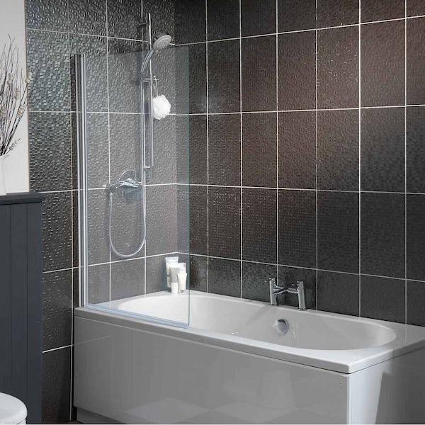 5mm hinged single straight shower bath screen