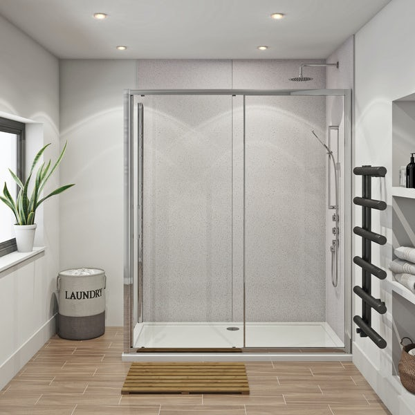 Mode Hardy shower enclosure pack 1700 x 700 with Multipanel Economy Sunlit quartz shower wall panels