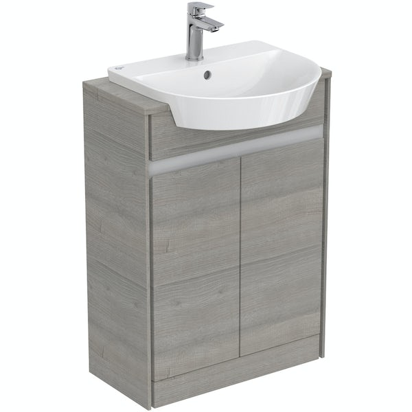 Ideal Standard Concept Air wood light grey and matt white vanity unit and semi recessed basin 600mm