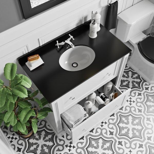The Bath Co. Burghley matt white floorstanding vanity unit and black marble basin 900mm