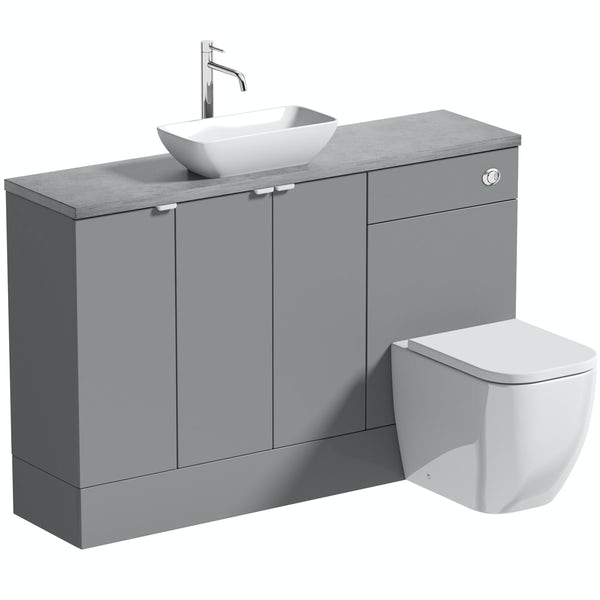 Reeves Wyatt onyx grey small fitted furniture combination with pebble grey worktop and countetop basin