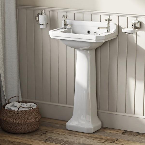 The Bath Co. Camberley 2 tap hole full pedestal basin 500mm