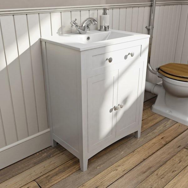 Bathroom Vanity Units B Q: The Bath Co. Camberley White Vanity Unit 600mm And Mirror