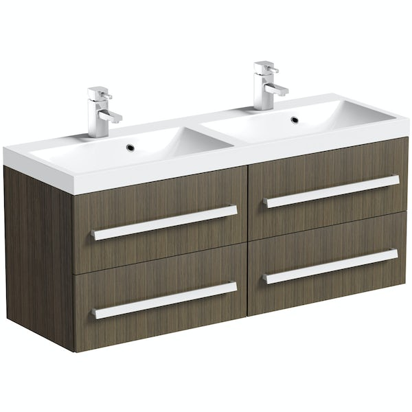 Orchard Wye walnut wall hung double basin unit 1200mm