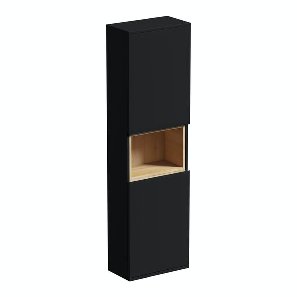 Mode Tate anthracite black & oak wall cabinet