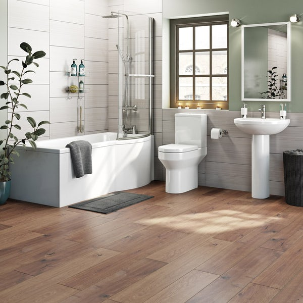 Oakley Bathroom Suite with Evesham 1700 x 850 Shower Bath RH