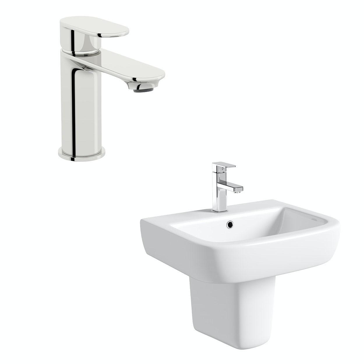 Mode Ellis 1 tap hole semi pedestal basin 560mm with tap