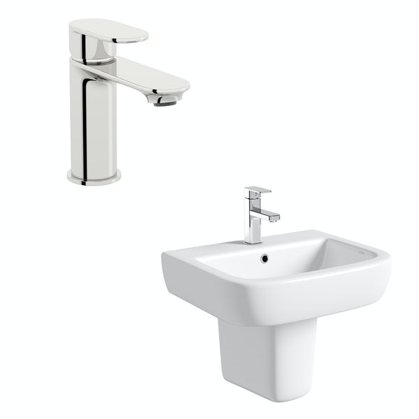Mode Ellis 1 tap hole semi pedestal basin 560mm with tap