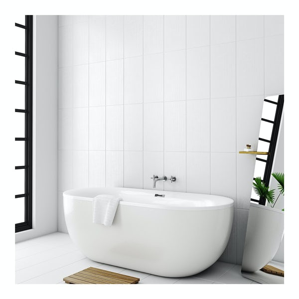 Laura Ashley Cottonwood linear field white wall tile 248mm x 498mm