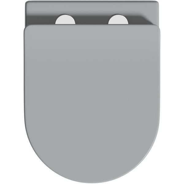 Mode Orion stone grey wall hung toilet with soft close seat and 0.82m wall mounting frame with push plate cistern