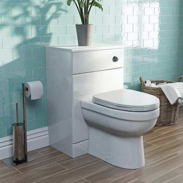 Eden white back to wall unit and toilet with seat