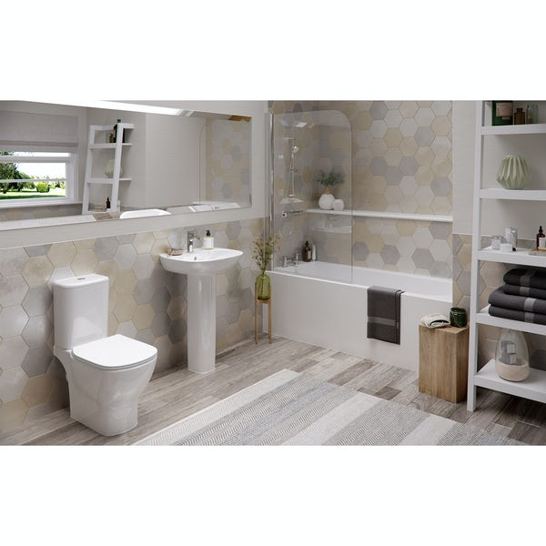 Ideal Standard Tesi complete bathroom suite with straight bath, radius bathscreen, taps, panel and waste