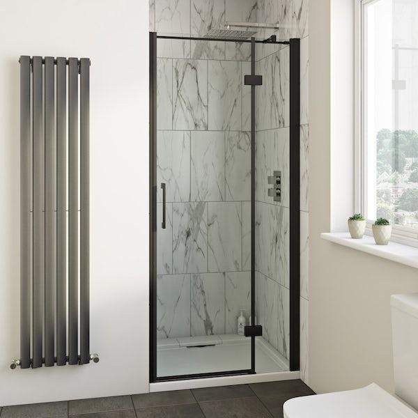 Mode Cooper black hinged easy clean shower door offer pack