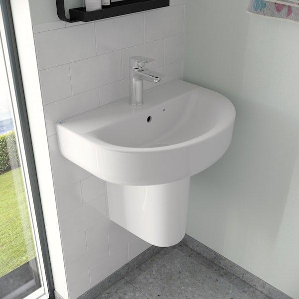 Ideal Standard Concept Space Arc 1 tap hole semi pedestal basin 550mm