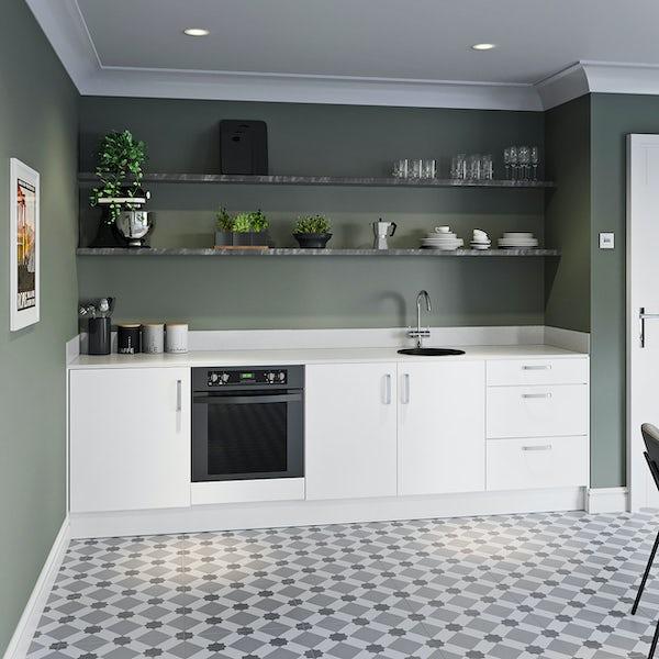 Schon Boston white slab kitchen base unit bundle