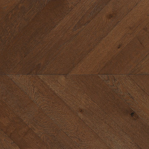 Tuscan Modelli Chevron stained oak multiply brushed engineered wood flooring