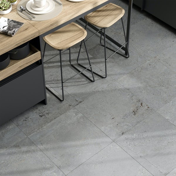 Michigan light grey stone effect matt wall and floor tile 600mm x 600mm