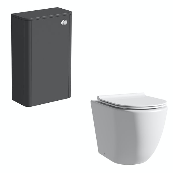 Mode Harrison slate gloss grey back to wall unit and rimless toilet with slimline soft close seat