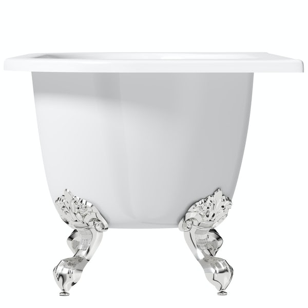 The Bath Co. Dalston back to wall freestanding bath with chrome ball and claw feet