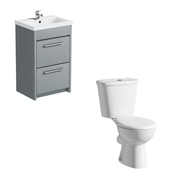 Clarity close coupled toilet and satin grey vanity unit suite 510mm