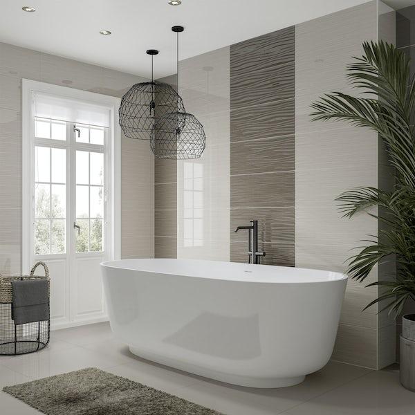 Birch light grey linear wood effect flat gloss wall tile 250mm x 600mm