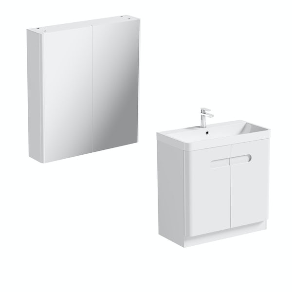Mode Ellis white vanity door unit 800mm and mirror cabinet offer