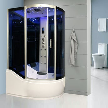 Insignia left handed offset quadrant steam shower bath cabin