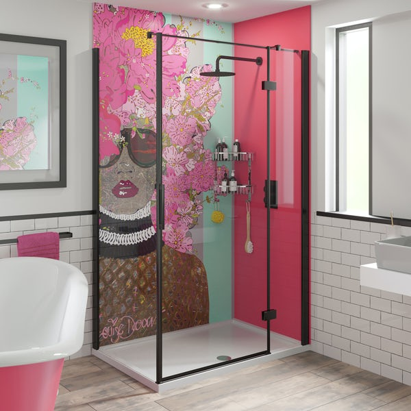 Louise Dear Kiss Kiss Bam Bam Hot Pink acrylic shower wall panel pack with black rectangular enclosure