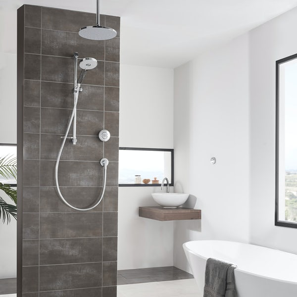 Aqualisa Unity Q Smart concealed shower standard with adjustable handset and ceiling head