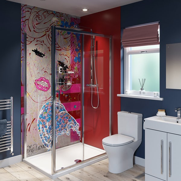 Louise Dear Brighton Belle acrylic shower wall panel with 1200 x 800mm rectangular enclosure