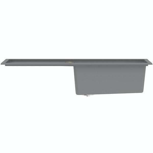 Bristan Gallery quartz dawn grey easyfit kitchen sink 1.0 bowl with left drainer