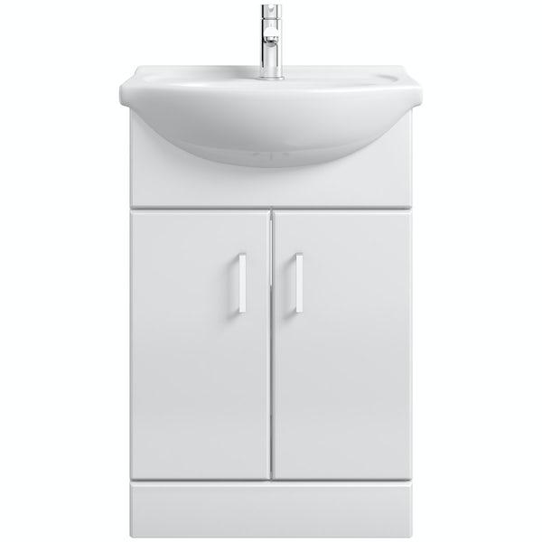 Orchard Eden white floorstanding vanity unit and ceramic basin 550mm