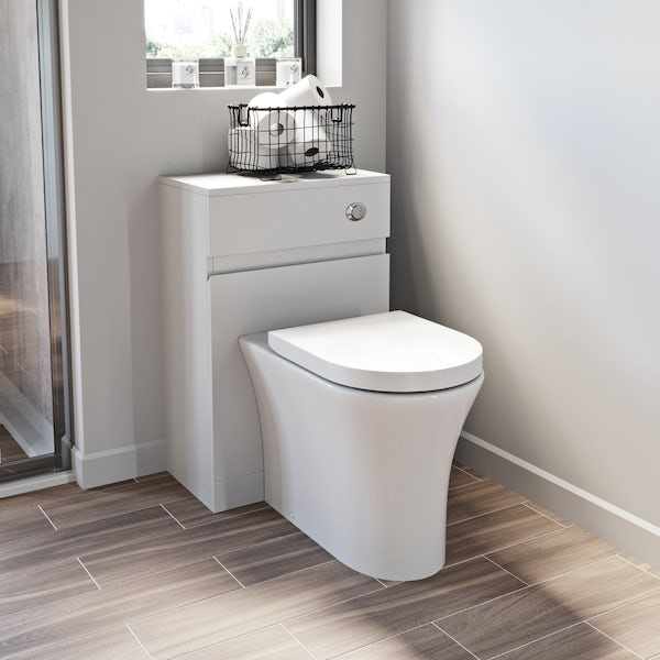 Mode Hardy white back to wall unit and rimless toilet with soft close seat