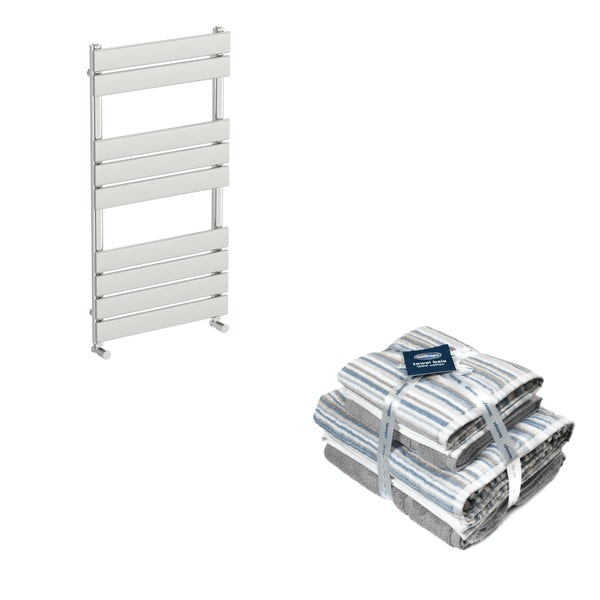 Orchard Wharfe chrome heated towel rail 950x500 with Silentnight Zero twist grey 4 piece towel bale