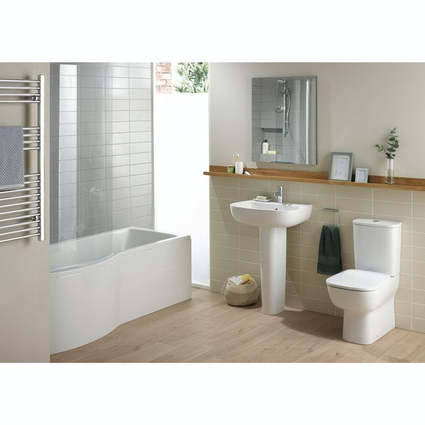 Ideal Standard Studio Echo right hand shower bath suite with full pedestal basin 1700 x 800