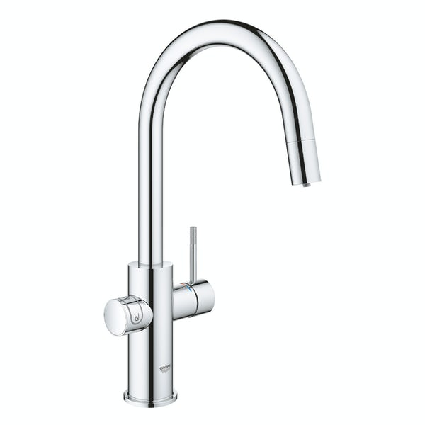 Grohe Blue Home Duo C spout kitchen tap starter kit with pull-out spray chrome