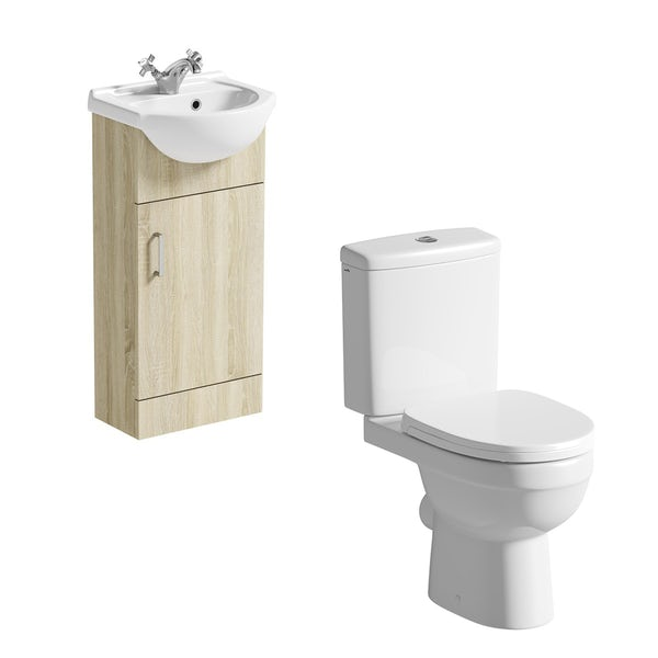 Orchard Eden oak cloakroom suite with close coupled toilet